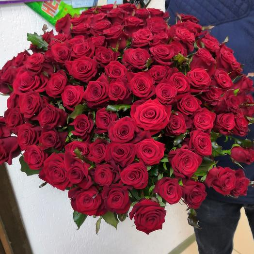 Розы ярко красные 101шт