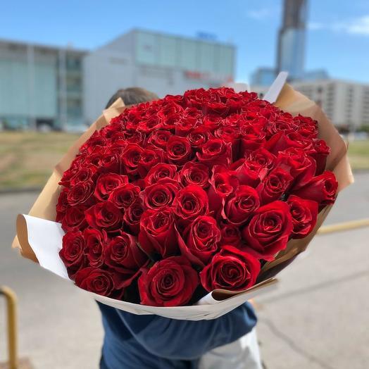 Шикарная 101 высокая роза