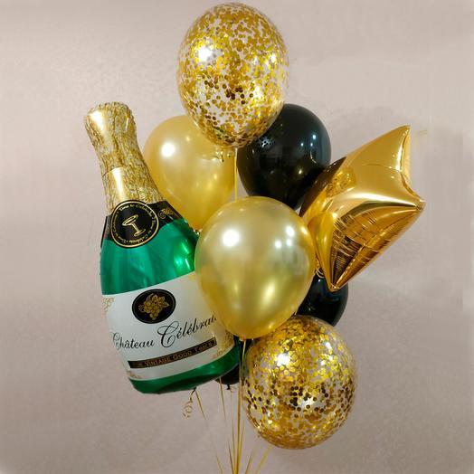 набор шаров с бутылкой шампанского