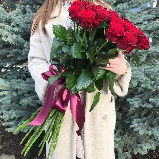 Rosalina 15 бордовых роз 80 сантиметров