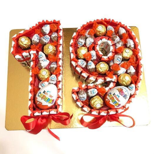 Торт цифры из киндер шоколада