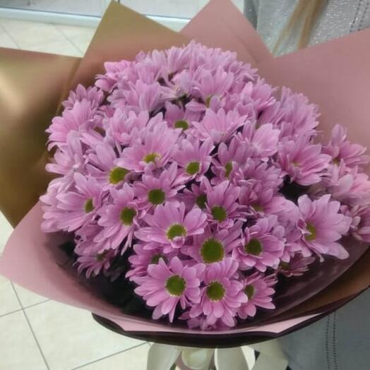 Монобукет Розовые хризантемы