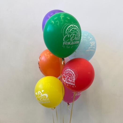 7 шаров «С днём рождения»