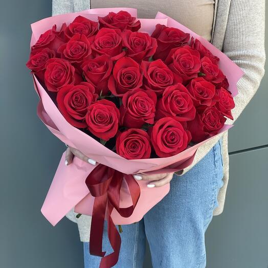 Букет из 25 крупных Эквадорских роз высотой 70 см
