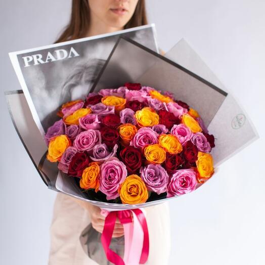51 разноцветная роза Кения коллекции Cosmopolitan