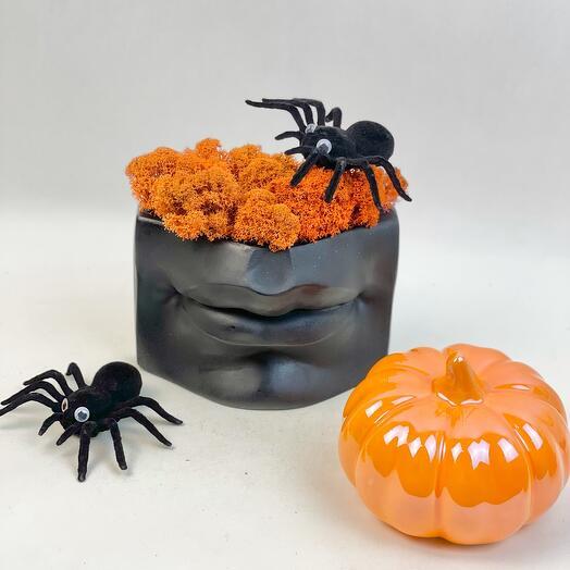 Губы и мох с Паучком на Хеллоуин