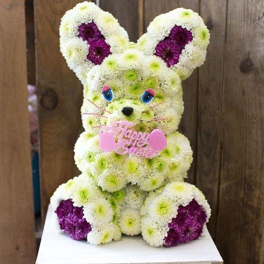 Зайка из живых цветов: букеты цветов на заказ Flowwow