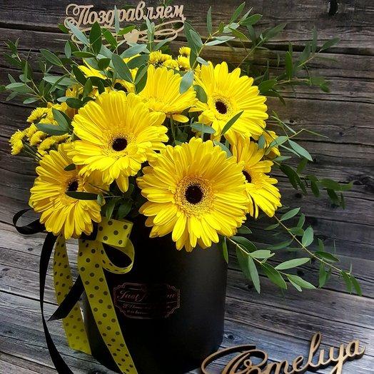 Герберы в шляпной коробке: букеты цветов на заказ Flowwow