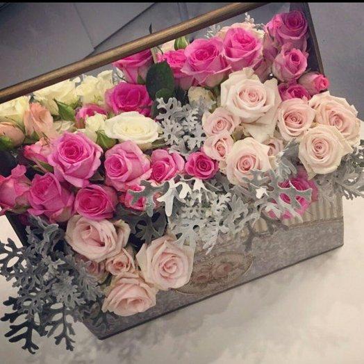 Нежный микс в ящике.: букеты цветов на заказ Flowwow