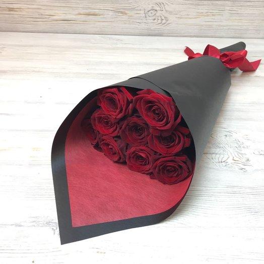 Букет из 9 красных роз (50см) N34: букеты цветов на заказ Flowwow