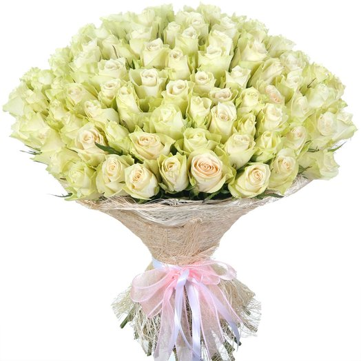 """101 белая роза """"Атена"""": букеты цветов на заказ Flowwow"""