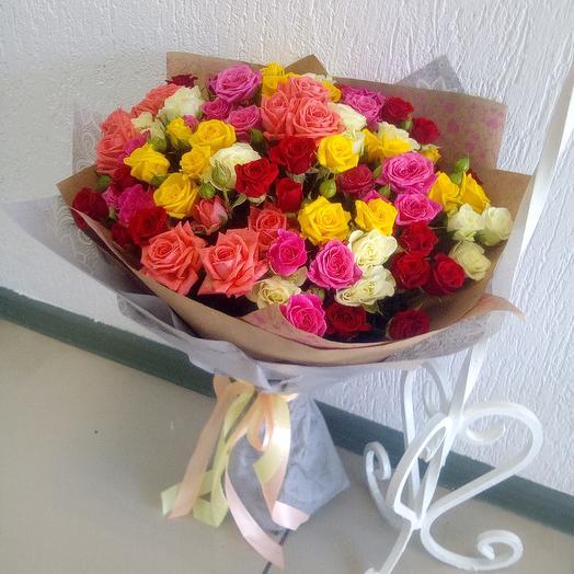 """Кустовые розы """" Радужный микс"""""""