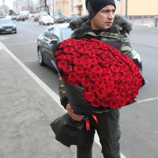 101 Красная высокая роза 80см