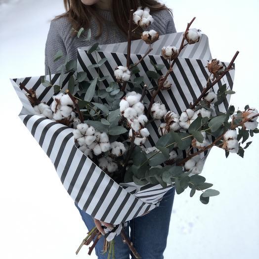 Хлопок с эвкалиптом: букеты цветов на заказ Flowwow