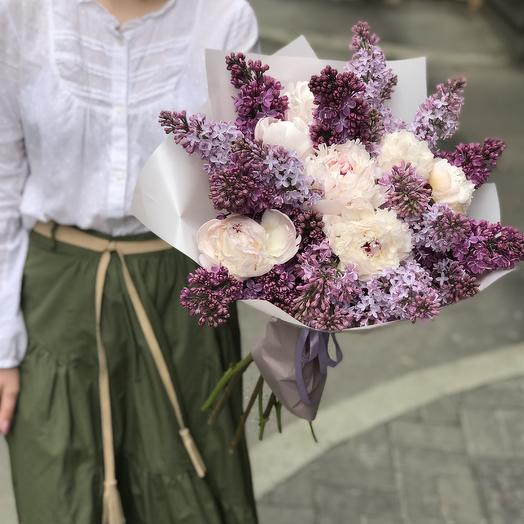 Пионы в сирени по супер цене: букеты цветов на заказ Flowwow
