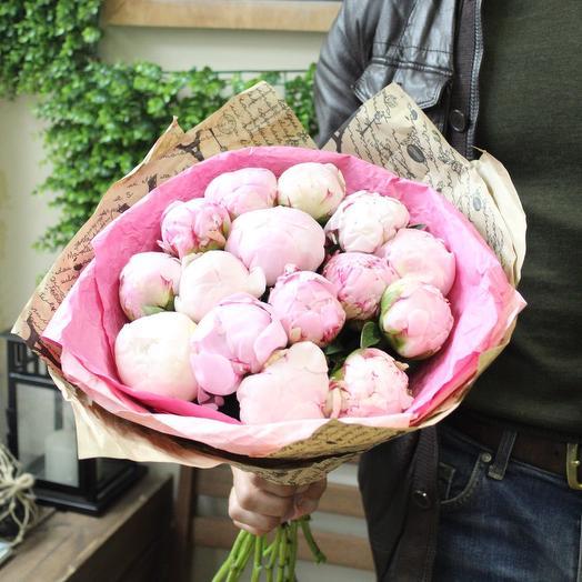 15 пионов. Premium. Craft: букеты цветов на заказ Flowwow