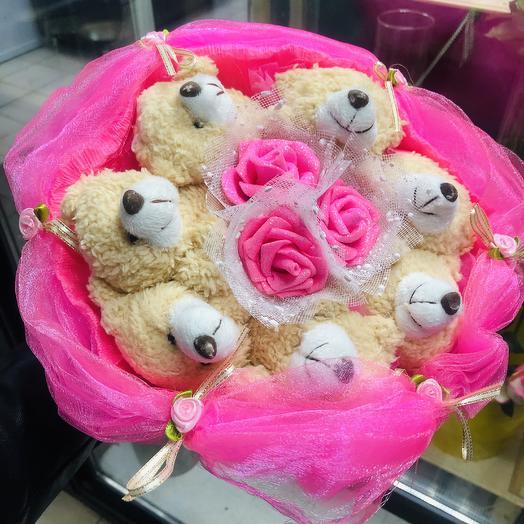 Мишки в букете: букеты цветов на заказ Flowwow