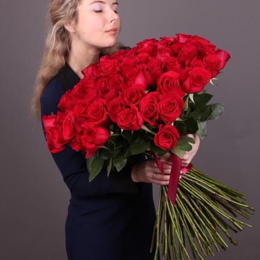 101 высокая красная роза 60 см. VIP