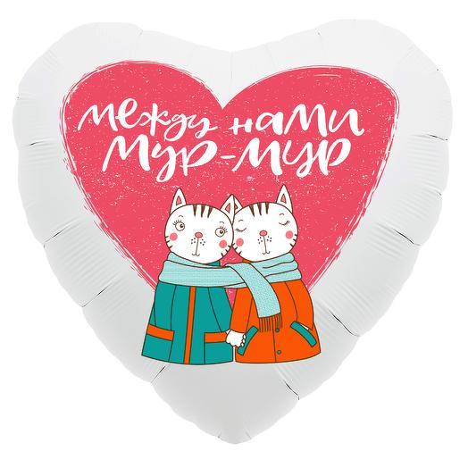 Шар (19  /48 см) Сердце,Мур-Мур (котики)