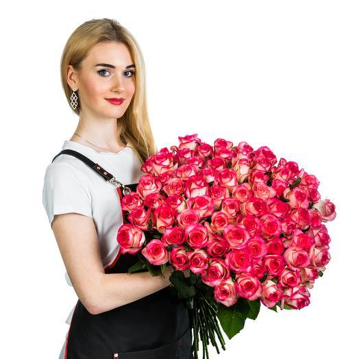 101 роза розовая с белым: букеты цветов на заказ Flowwow