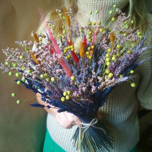 Букет лаванды со злаками и сухоцветами: букеты цветов на заказ Flowwow
