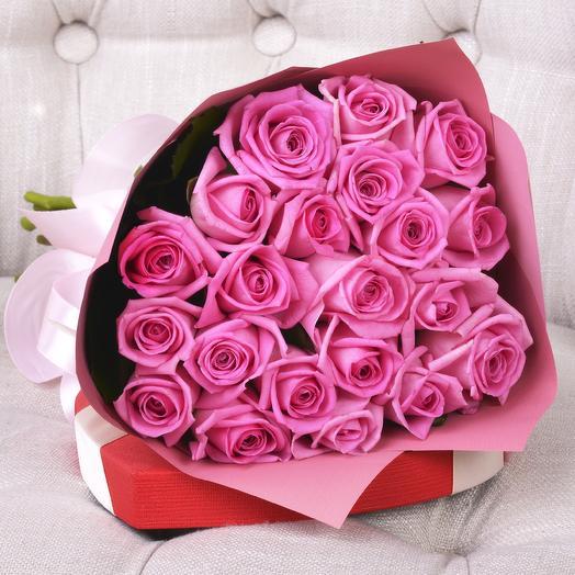 Букет 21 Розовая Роза Россия