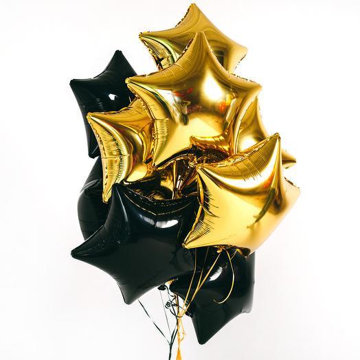 Черные и золотые фольгированные звезды 10 шт