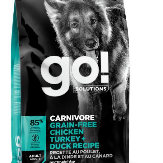 GO! беззерновой корм для собак всех пород 4 вида мяса: индейка, курица, лосось, утка 1,59 кг