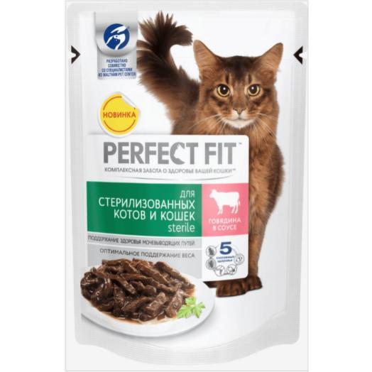 Perfect Fit консервы (пауч) говядина в соусе для стерилизованных кошек 85 г