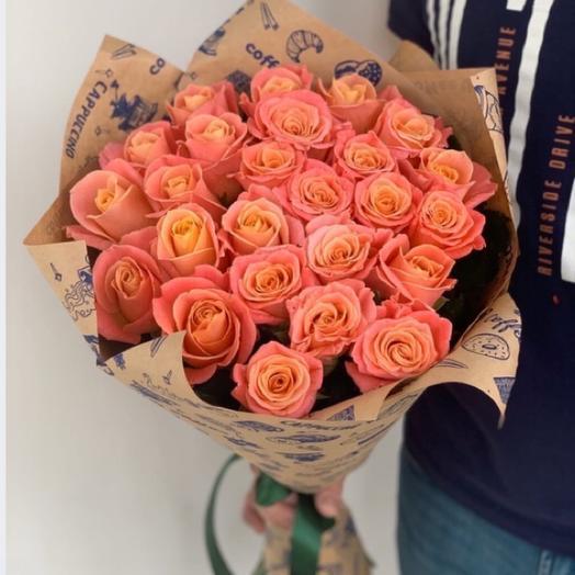 Персиковый рассвет (роза 60см)