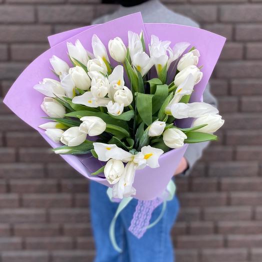 Ирисы + тюльпаны