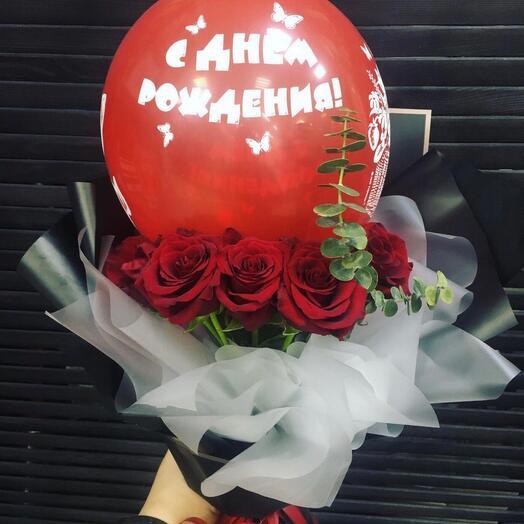 Букет из роз с Шариком