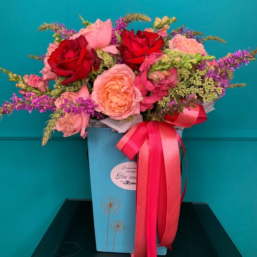 Flowers in a trapezoidal box