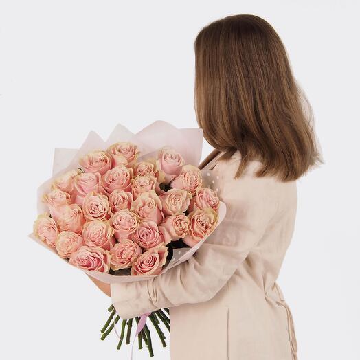 Букет розовых роз 25 шт