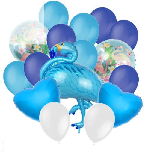 Набор шаров «Фламинго», фольга, латекс, набор 16 шт., цвет голубой