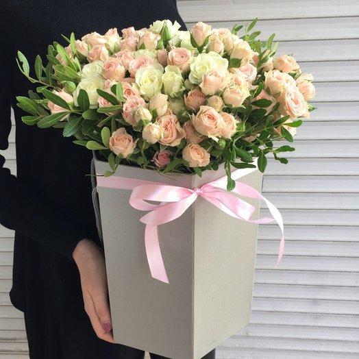 Коробочка  (кустовые розы): букеты цветов на заказ Flowwow