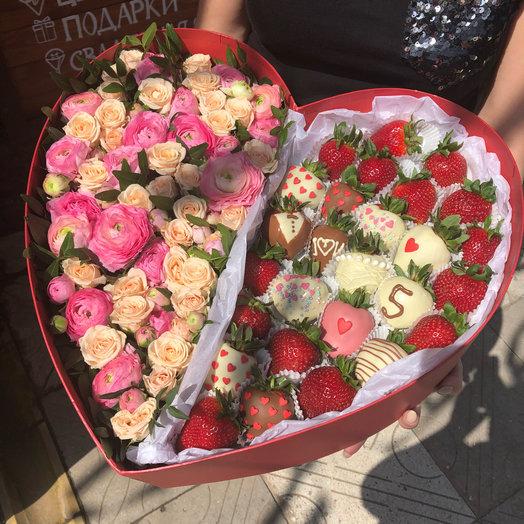 Большая коробка Сердце: букеты цветов на заказ Flowwow