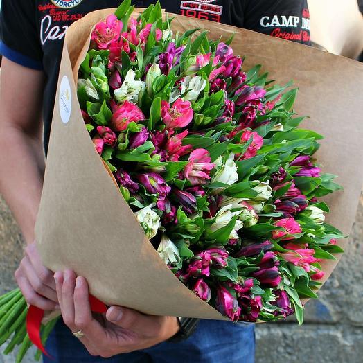 Микс из 45 альстромерий: букеты цветов на заказ Flowwow