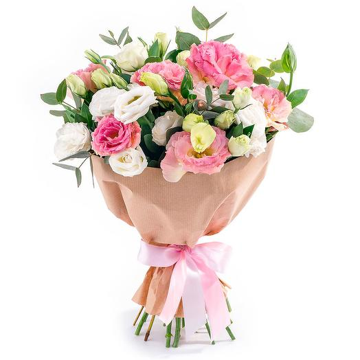 БУКЕТ ИЗ 19 ЭУСТОМ В КРАФТЕ: букеты цветов на заказ Flowwow