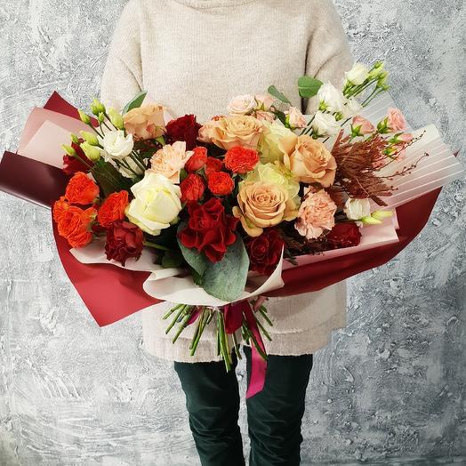 """Шикарный букет из розы и лизиантуса """"Каппучино """": букеты цветов на заказ Flowwow"""