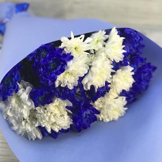 Букет бело-синих хризантем: букеты цветов на заказ Flowwow