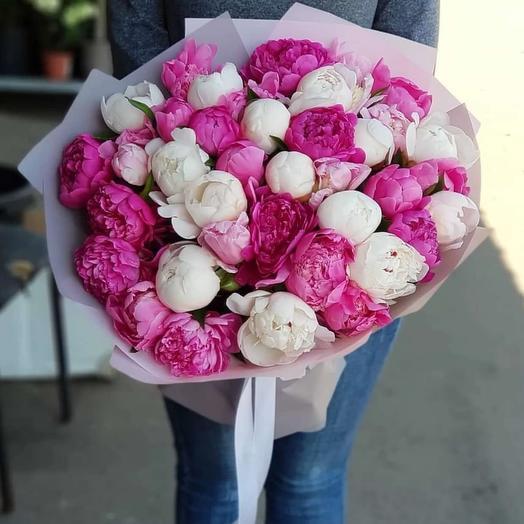 Пионовый ароматный микс: букеты цветов на заказ Flowwow