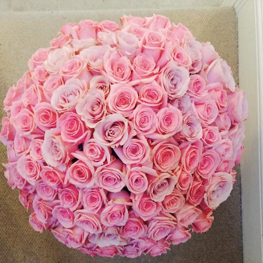 101 rose Pink heaven (round vase included)