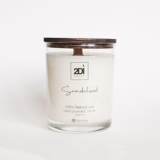 Натуральная аромасвеча ручной работы 190 мл, хлопковый фитиль - Sandalwood, Сандаловое дерево