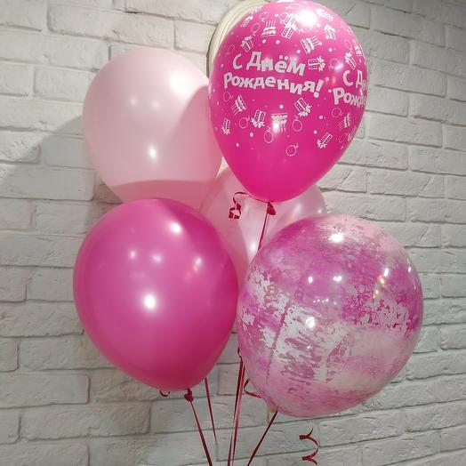 Комплект из 5 шаров розовых