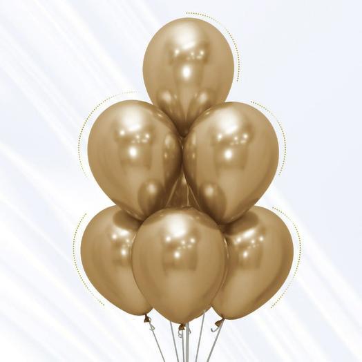 Воздушный шар хром 30 см ЗОЛОТО