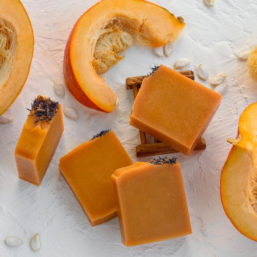 Натуральное органическое мыло Тыквенное с соком тыквы и мацератом цветов одуванчика