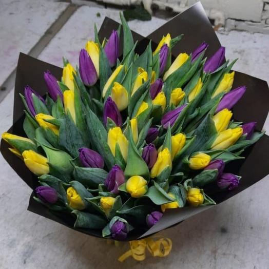 Микс из тюльпанов в матовой упаковке