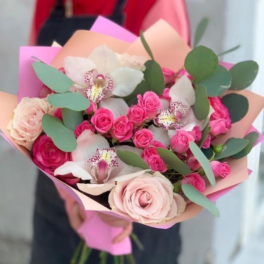 Букет «орхидея и роза»