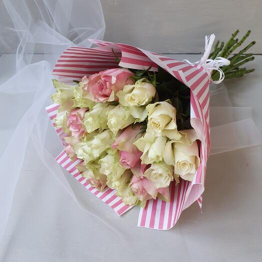 """Букет из белых и розовых роз """"Special day"""""""